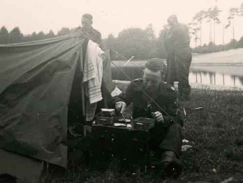 Army Henk enjoying a meal on German manouevres